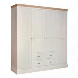 Devonshire Pine and Oak Ready assembled Pine LUNDY QUAD WARDROBE WITH TWO DRAWERS LW90