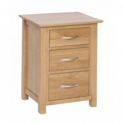 Devonshire Pine and Oak Ready assembled New Oak 3 DRAWER HIGH BEDSIDE NB40