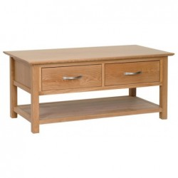 Devonshire Pine and Oak Ready assembled New Oak COFFEE TABLE WITH DRAWERS NT15