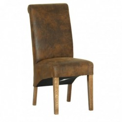 Devonshire Pine and Oak Ready assembled Rustic Oak BISON FABRIC DINING CHAIR RH13