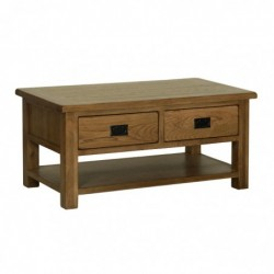 Devonshire Pine and Oak Ready assembled Rustic Oak COFFEE TABLE WITH DRAWERS RT15