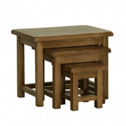 Devonshire Pine and Oak Ready assembled Rustic Oak SMALL NEST OF TABLES RT28
