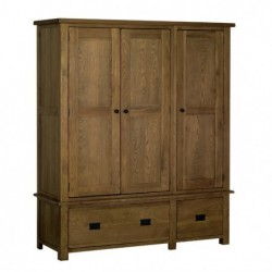 Devonshire Pine and Oak Ready assembled Rustic Oak TRIPLE WARDROBE RW50