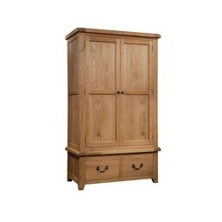 Devonshire Pine and Oak Ready assembled Somerset Oak GENTS WARDROBE WITH 2 DRAWERS SOM032