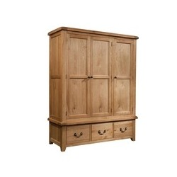 Devonshire Pine and Oak Ready assembled Somerset Oak TRIPLE WARDROBE WITH 3 DRAWERS SOM033