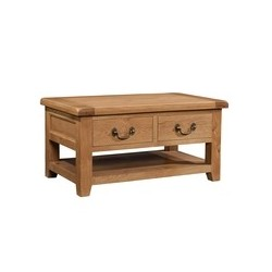 Devonshire Pine and Oak Ready assembled Somerset Oak COFFEE TABLE WITH 2 DRAWERS SOM068