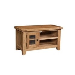 Devonshire Pine and Oak Ready assembled Somerset Oak SMALL TV UNIT SOM071