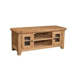 Devonshire Pine and Oak Ready assembled Somerset Oak LARGE TV UNIT SOM072