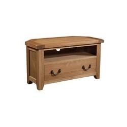 Devonshire Pine and Oak Ready assembled Somerset Oak CORNER TV UNIT SOM073