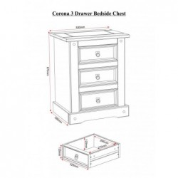 Corona mexican 3 drawer bedside
