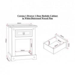 Corona  mexican 1 drawer 1 door bedside cabinet stockist telford