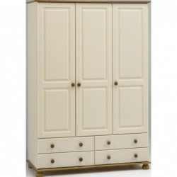 RICHMOND CREAM AND PINE 3 DOOR 4 DRAWER WARDROBE