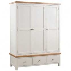 Devon oak triple wardrobe with 3 drawers