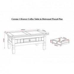 Corona mexican 1 drawer coffee table telford