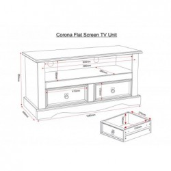 Corona mexica pine 2 drawer flat screan tv unit