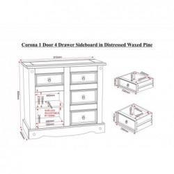 Seconique Corona mexican 1 door 4 drawer sideboard