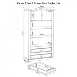 Corona mexica 2 Door 2 Drawer Glass Display Unit
