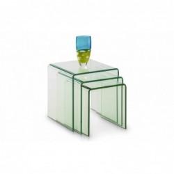 JULIAN BOWEN AMALFI BENT GLASS NEST OF TABLES