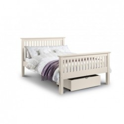 julian bowen Barcelona Bed High Foot End  Stone White Finish 90cm