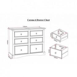 lfat packCorona 6 drawer chest of drawers