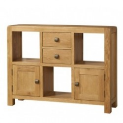 Devonshire Pine and Oak Ready assembled Avon Oak LOW DISPLAY UNIT 2 DOOR 2 DRAWER DAV008