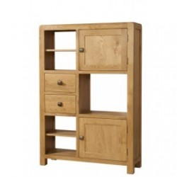 Devonshire Pine and Oak Ready assembled Avon Oak HIGH DISPLAY UNIT 2 DOOR 2 DRAWER DAV009