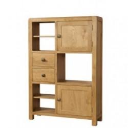 Devonshire Pine and Oak Ready assembled Avon Oak HIGH DISPLAY UNIT 2 DOOR 2 DRAWER DAV009
