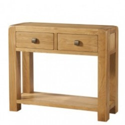 Devonshire Pine and Oak Ready assembled Avon Oak LARGE CONSOLE 2 DRAWER AND SHELF DAV010
