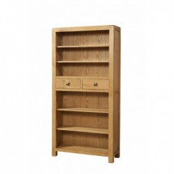 Devonshire Pine and Oak Ready assembled Avon Oak TALL BOOKCASE WITH 2 DRAWERS DAV021