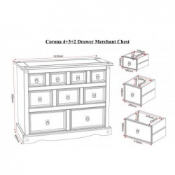 Corona  mexican 4  plus  3  plus  2 Drawer Merchant Chest  of Drawers