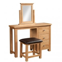 Devonshire Pine and Oak Ready assembled Dorset Oak  SINGLE PEDESTAL DRESSING TABLE  DOR022