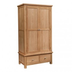 Devonshire Pine and Oak Ready assembled Dorset Oak  GENTS WARDROBE WITH 2 DRAWERS DOR032
