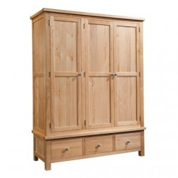 Devonshire Pine and Oak Ready assembled Dorset Oak TRIPLE WARDROBE WITH 3 DRAWERS DOR033