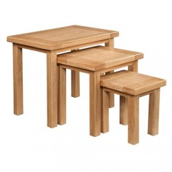 Devonshire Pine and Oak Ready assembled Dorset Oak NEST OF TABLES DOR076